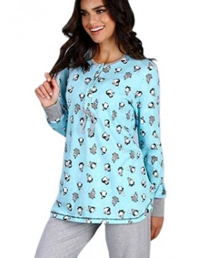 Πυτζάμα Γυναικεία Minerva Penguin - 100% Βαμβάκι Interlock - Νέα Μαμά  - Χειμώνας 19