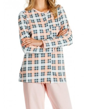 Πυτζάμα Γυναικεία MINERVA - 100% Βαμβάκι Interlock - Καρό Σχέδιο & Κουμπιά - Hot Pick 19/20