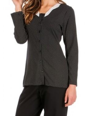 Πυτζάμα Γυναικεία MINERVA με Κουμπιά - 100% Βαμβάκι Interlock - Dots Πουά & Δαντέλα - Smart Pick 19/20