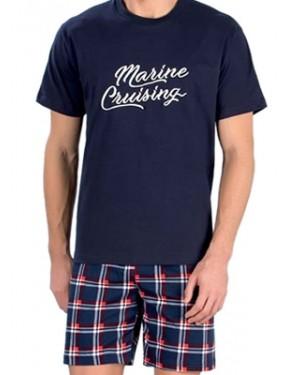 MINERVA Αντρική Πυτζάμα Marine Cruising - 100% Βαμβάκι - Καρό Παντελόνι - Hot Pick SS19