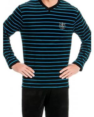 Ανδρική Πυτζάμα Πολυτελείας MINERVA Velvet Stripes - Απαλό Βελούδο - Hot Pick 19/20