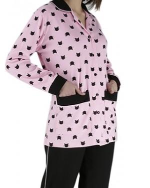 Γυναικεία Πυτζάμα RACHEL - Γεμάτο Βαμβάκι - All Over Σχέδιο & Κουμπιά - Smart Choice FW20/21