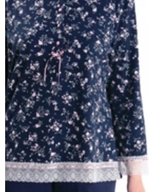 Πυτζάμα Γυναικεία RELAX - Απαλό Viscose - Floral Σχέδιο & κουμπιά - Χειμώνας 2021/22