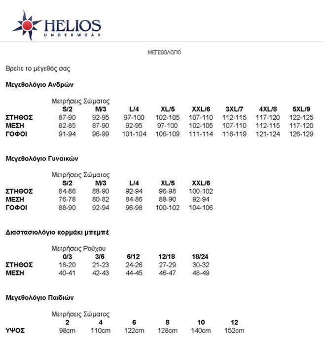 senseware sizechart helios men
